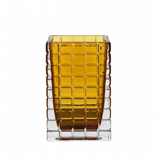 Medium Cubist Glass Vase - Amber